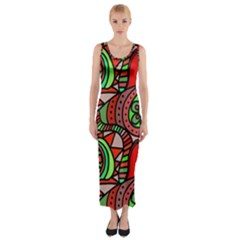 Seamless Tile Background Abstract Fitted Maxi Dress
