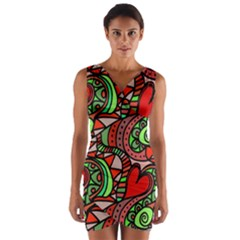 Seamless Tile Background Abstract Wrap Front Bodycon Dress