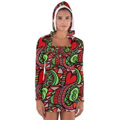Seamless Tile Background Abstract Women s Long Sleeve Hooded T Shirt