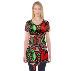 Seamless Tile Background Abstract Short Sleeve Tunic