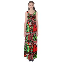 Seamless Tile Background Abstract Empire Waist Maxi Dress