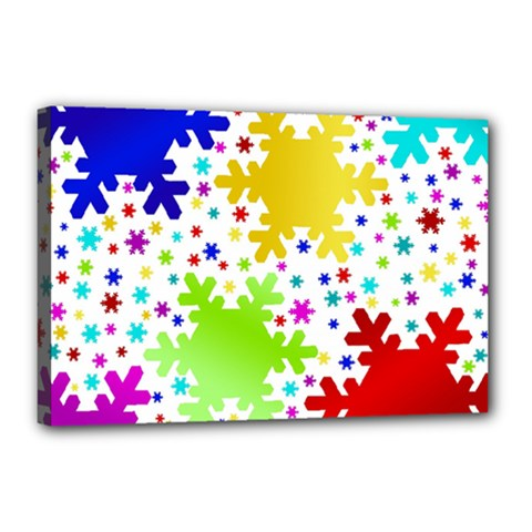 Seamless Snowflake Pattern Canvas 18  x 12