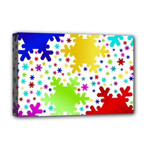Seamless Snowflake Pattern Deluxe Canvas 18  x 12