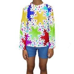 Seamless Snowflake Pattern Kids  Long Sleeve Swimwear