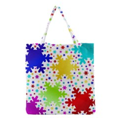 Seamless Snowflake Pattern Grocery Tote Bag