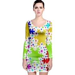 Seamless Snowflake Pattern Long Sleeve Bodycon Dress