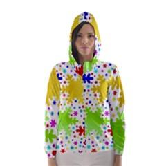 Seamless Snowflake Pattern Hooded Wind Breaker (Women)