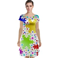 Seamless Snowflake Pattern Cap Sleeve Nightdress