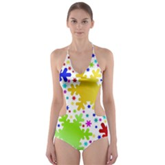 Seamless Snowflake Pattern Cut Out One Piece Swimsuit