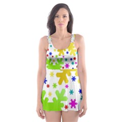 Seamless Snowflake Pattern Skater Dress Swimsuit