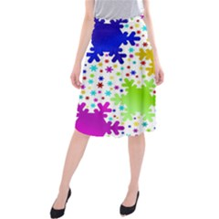 Seamless Snowflake Pattern Midi Beach Skirt