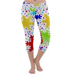 Seamless Snowflake Pattern Capri Yoga Leggings