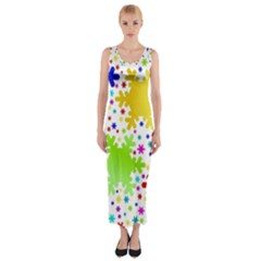 Seamless Snowflake Pattern Fitted Maxi Dress