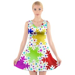 Seamless Snowflake Pattern V-Neck Sleeveless Skater Dress