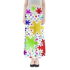 Seamless Snowflake Pattern Maxi Skirts