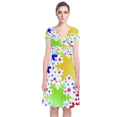 Seamless Snowflake Pattern Short Sleeve Front Wrap Dress