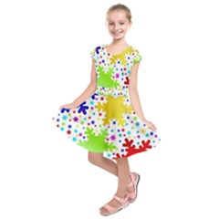 Seamless Snowflake Pattern Kids  Short Sleeve Dress