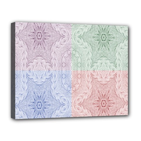 Seamless Kaleidoscope Patterns In Different Colors Based On Real Knitting Pattern Canvas 14  x 11