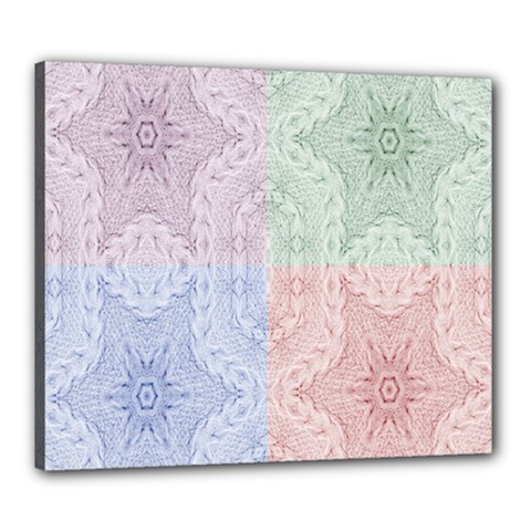 Seamless Kaleidoscope Patterns In Different Colors Based On Real Knitting Pattern Canvas 24  x 20