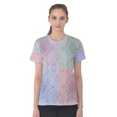 Seamless Kaleidoscope Patterns In Different Colors Based On Real Knitting Pattern Women s Cotton Tee