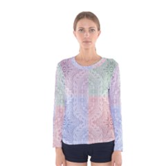 Seamless Kaleidoscope Patterns In Different Colors Based On Real Knitting Pattern Women s Long Sleeve Tee
