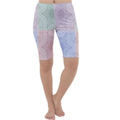 Seamless Kaleidoscope Patterns In Different Colors Based On Real Knitting Pattern Cropped Leggings