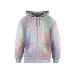 Seamless Kaleidoscope Patterns In Different Colors Based On Real Knitting Pattern Kids  Zipper Hoodie
