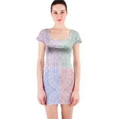 Seamless Kaleidoscope Patterns In Different Colors Based On Real Knitting Pattern Short Sleeve Bodycon Dress