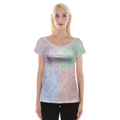 Seamless Kaleidoscope Patterns In Different Colors Based On Real Knitting Pattern Women s Cap Sleeve Top