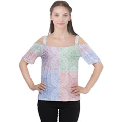 Seamless Kaleidoscope Patterns In Different Colors Based On Real Knitting Pattern Women s Cutout Shoulder Tee