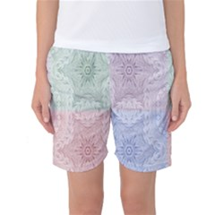 Seamless Kaleidoscope Patterns In Different Colors Based On Real Knitting Pattern Women s Basketball Shorts