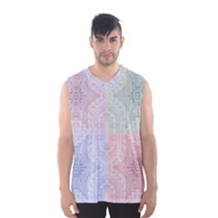 Seamless Kaleidoscope Patterns In Different Colors Based On Real Knitting Pattern Men s Basketball Tank Top