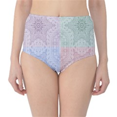 Seamless Kaleidoscope Patterns In Different Colors Based On Real Knitting Pattern High Waist Bikini Bottoms