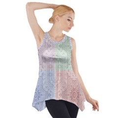 Seamless Kaleidoscope Patterns In Different Colors Based On Real Knitting Pattern Side Drop Tank Tunic