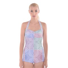 Seamless Kaleidoscope Patterns In Different Colors Based On Real Knitting Pattern Boyleg Halter Swimsuit