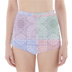 Seamless Kaleidoscope Patterns In Different Colors Based On Real Knitting Pattern High-Waisted Bikini Bottoms
