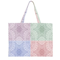 Seamless Kaleidoscope Patterns In Different Colors Based On Real Knitting Pattern Large Tote Bag