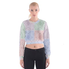 Seamless Kaleidoscope Patterns In Different Colors Based On Real Knitting Pattern Women s Cropped Sweatshirt