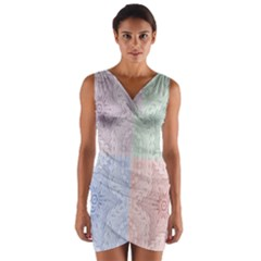 Seamless Kaleidoscope Patterns In Different Colors Based On Real Knitting Pattern Wrap Front Bodycon Dress