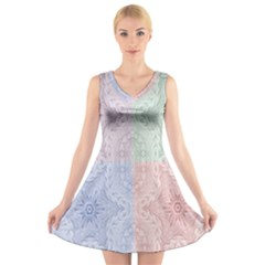 Seamless Kaleidoscope Patterns In Different Colors Based On Real Knitting Pattern V Neck Sleeveless Skater Dress