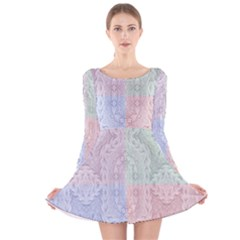 Seamless Kaleidoscope Patterns In Different Colors Based On Real Knitting Pattern Long Sleeve Velvet Skater Dress