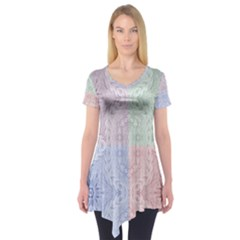 Seamless Kaleidoscope Patterns In Different Colors Based On Real Knitting Pattern Short Sleeve Tunic
