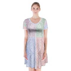 Seamless Kaleidoscope Patterns In Different Colors Based On Real Knitting Pattern Short Sleeve V-neck Flare Dress
