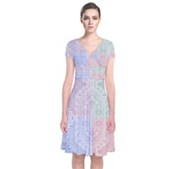 Seamless Kaleidoscope Patterns In Different Colors Based On Real Knitting Pattern Short Sleeve Front Wrap Dress