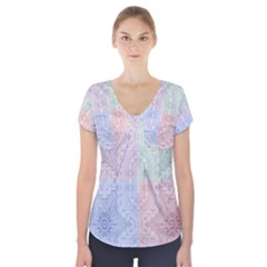 Seamless Kaleidoscope Patterns In Different Colors Based On Real Knitting Pattern Short Sleeve Front Detail Top