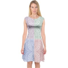 Seamless Kaleidoscope Patterns In Different Colors Based On Real Knitting Pattern Capsleeve Midi Dress