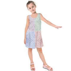 Seamless Kaleidoscope Patterns In Different Colors Based On Real Knitting Pattern Kids  Sleeveless Dress