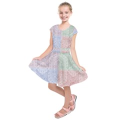 Seamless Kaleidoscope Patterns In Different Colors Based On Real Knitting Pattern Kids  Short Sleeve Dress