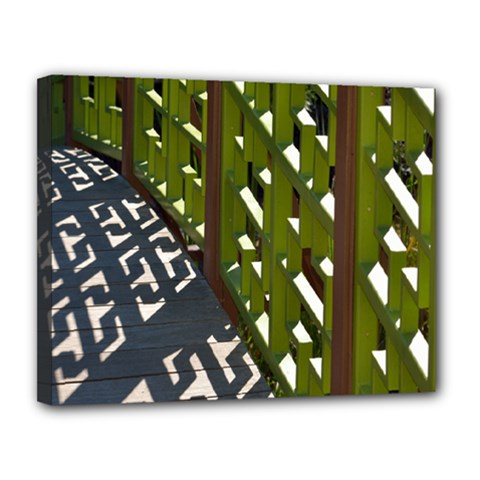 Shadow Reflections Casting From Japanese Garden Fence Canvas 14  X 11