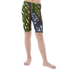 Shadow Reflections Casting From Japanese Garden Fence Kids  Mid Length Swim Shorts